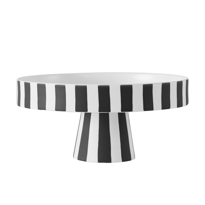 Plateau Toppu, Ø 20 x H 9 cm en noir / blanc de OYOY