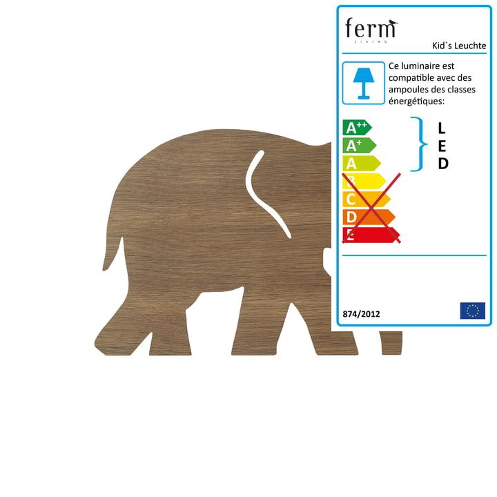 Applique éléphant de ferm Living en chêne fumé