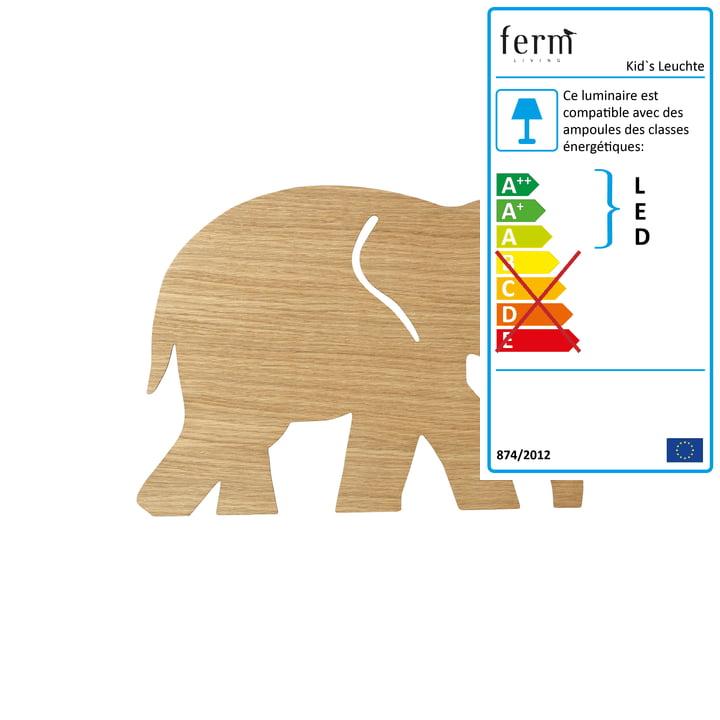Applique éléphant par ferm Living in oak huilée