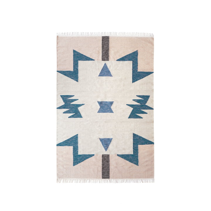 Tapis Kelim Triangles Bleus de Ferm Living in small