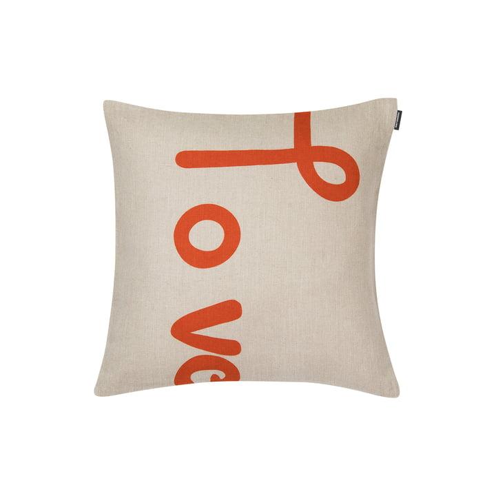 Taie d'oreiller Love 40 x 40 cm de Marimekko en orange / beige