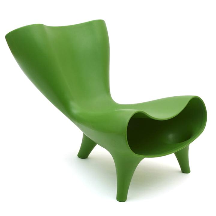 Chaise Orgone de Löffler en vert pur (RAL 6037)