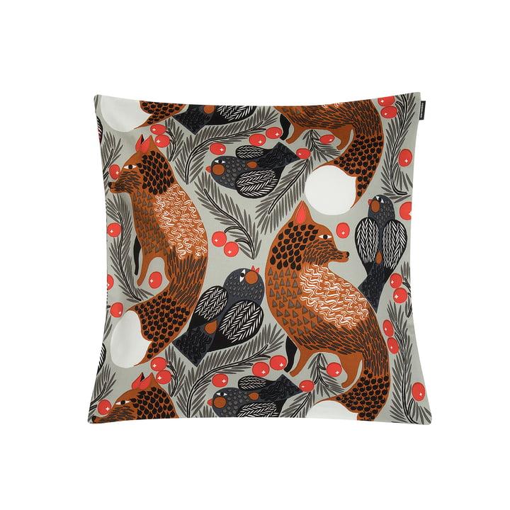 Housse de coussin Ketunmarja 45 x 45 cm de Marimekko en gris clair / brun