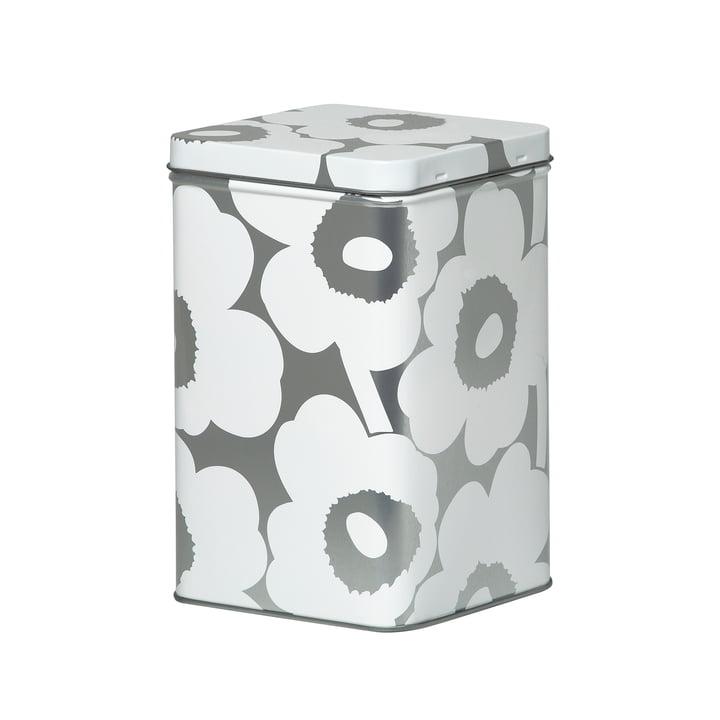 Boîte de rangement Unikko H 17,5 cm de Marimekko en blanc / gris