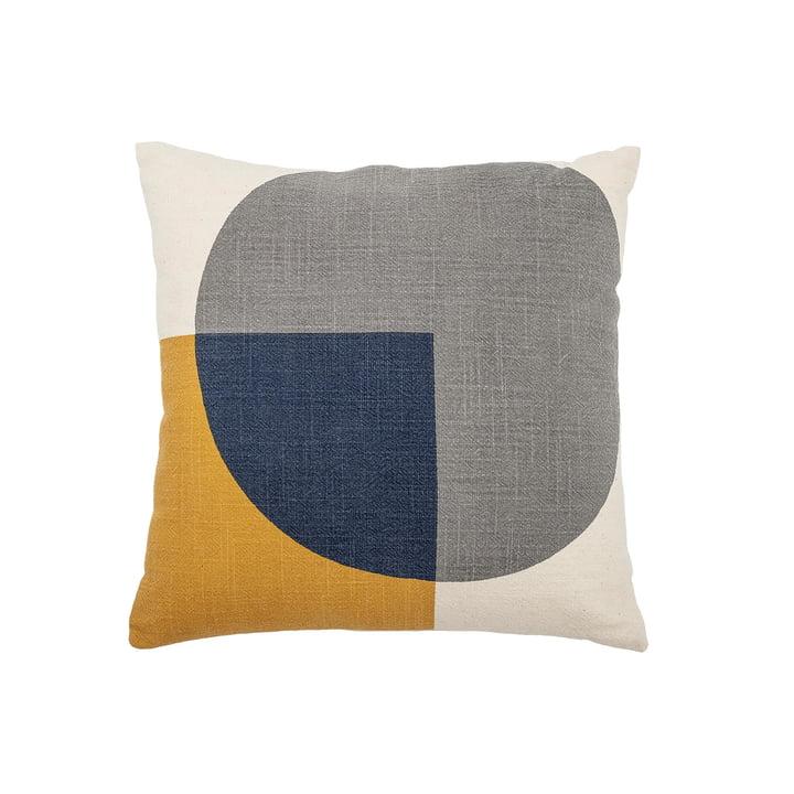 Coussin en coton avec motif graphique 40 x 40 cm de Bloomingville en bleu / jaune