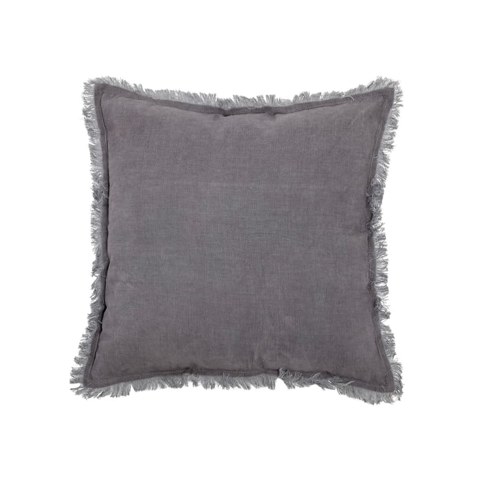 Oreiller en coton avec franges 45 x 45 cm de Bloomingville en gris