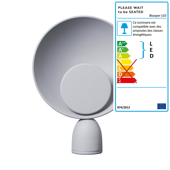 Lampe de table Blooper LED en gris cendré par Veuillez patienter avant de vous asseoir.