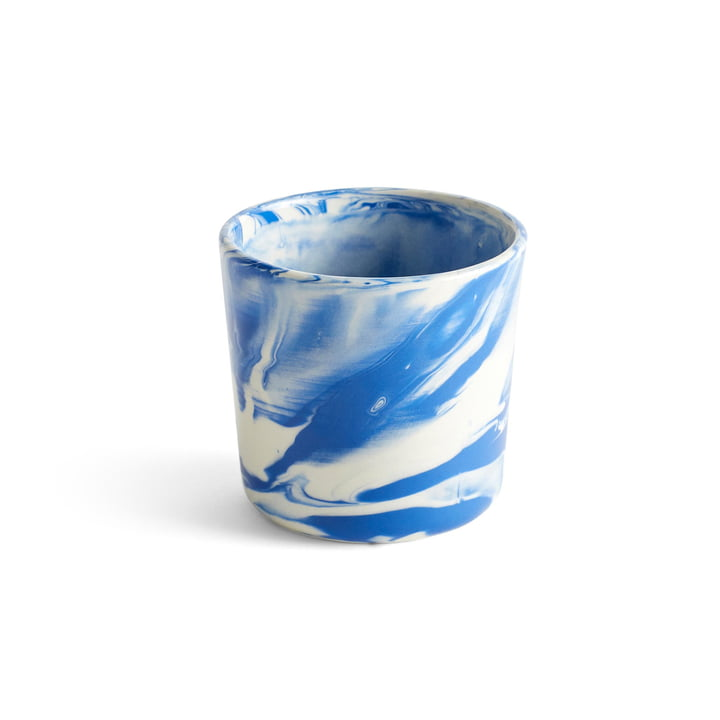 Coupe marbrée, Ø 8 x H 7,5 cm, bleue par Hay