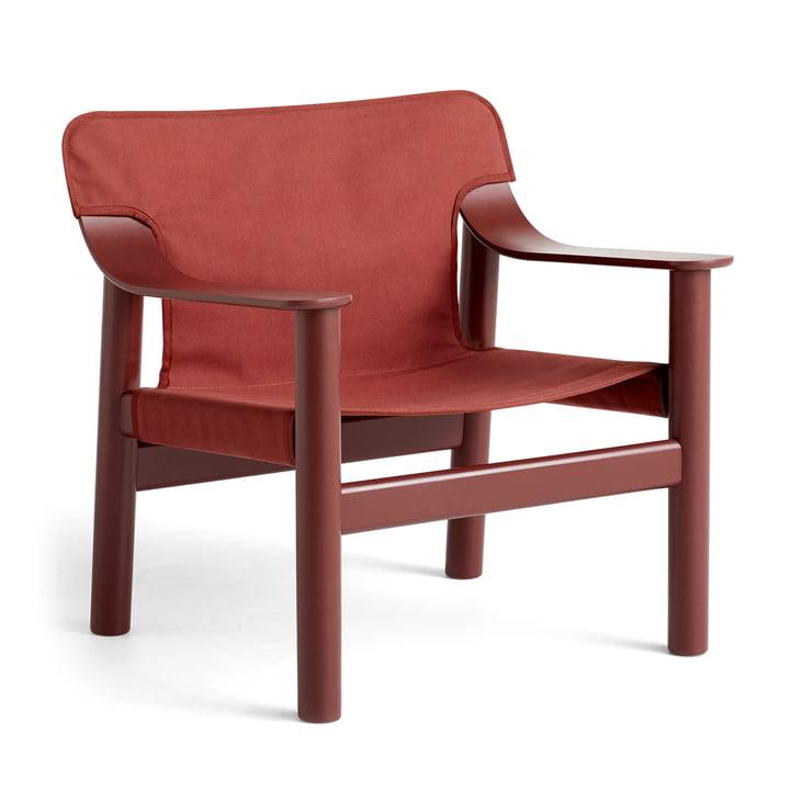 Fauteuil Bernard, hêtre laqué / toile marron-rouge par Hay