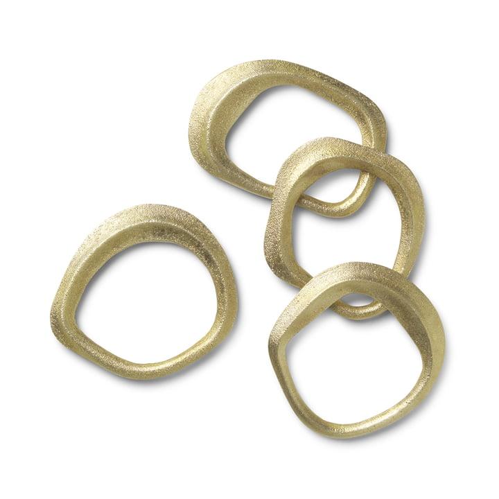 Ronds de serviette de table Flow de ferm Living in brass (ensemble de 4)