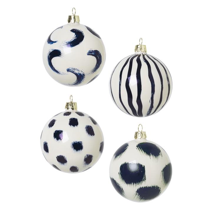 Boules d'arbre de Noël en verre de ferm Living in blue (ensemble de 4)
