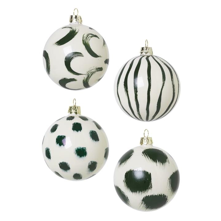 Boules d'arbre de Noël en verre de Ferm Living in green (ensemble de 4)