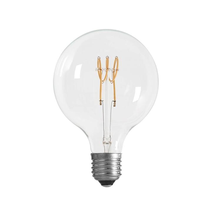 Ampoule LED à culot Ø 125 mm, E27 / 3 W, transparente de la collection NUD
