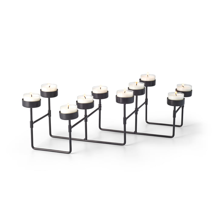 Porte-bougie de laboratoire pour 10 bougies à thé en noir par Philippi