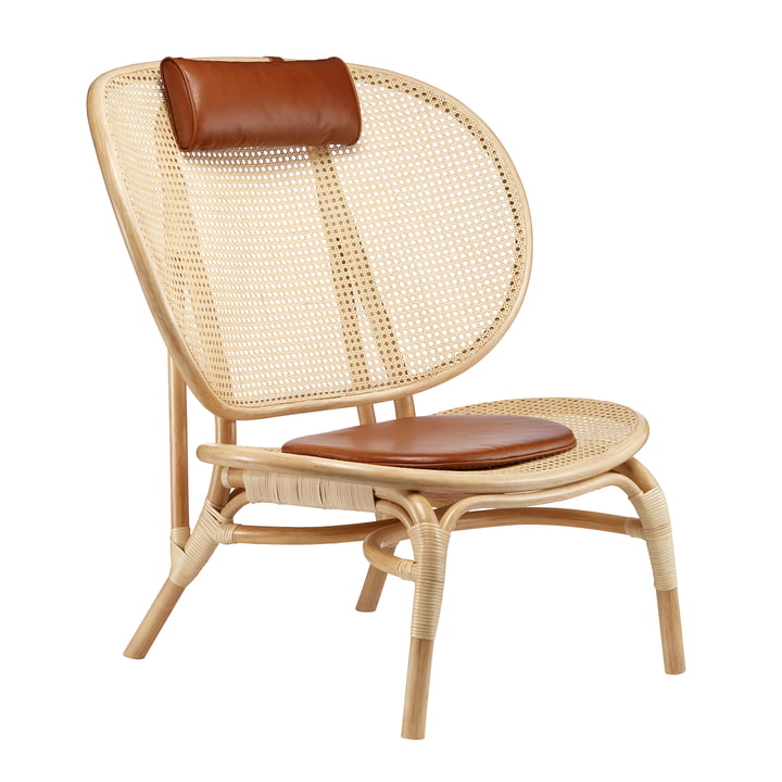 Chaise Nomad Lounge Chair by Norr11 in nature / cognac