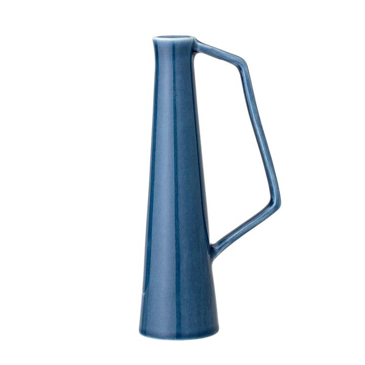Vase en grès avec anse, Ø 5,5 x H 20,5 cm en bleu de Bloomingville