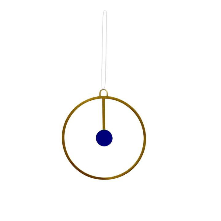 Pendentif décoration de Noël Joulu Ø 7,5 cm en laiton / bleu par OYOY