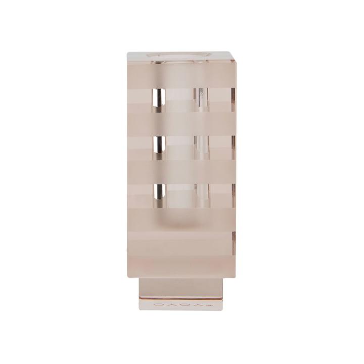 Vase graphique et bougeoir, carré / brun clair par OYOY