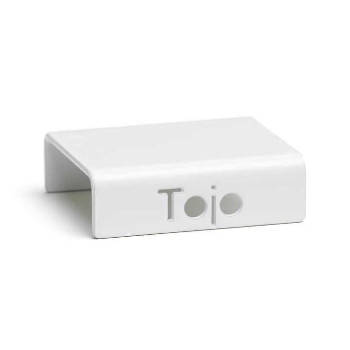 Clip pour système d'étagères à hauts rayonnages de Tojo en blanc