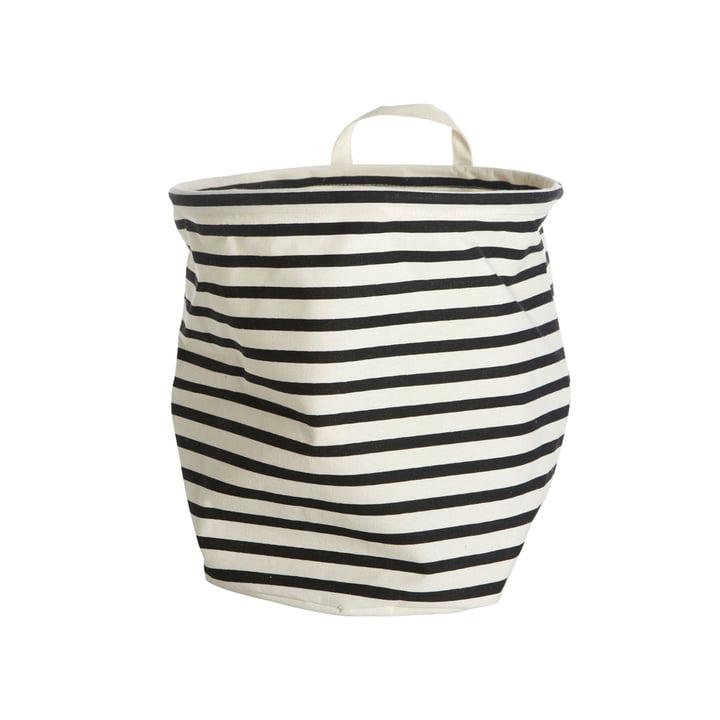 Panier de rangement Stripes Ø 30 x H 30 cm par House Doctor en noir / blanc