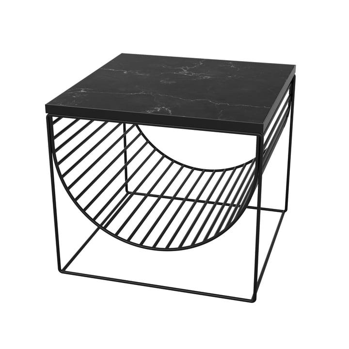 Sino table / porte-revues par AYTM en noir / marbre noir