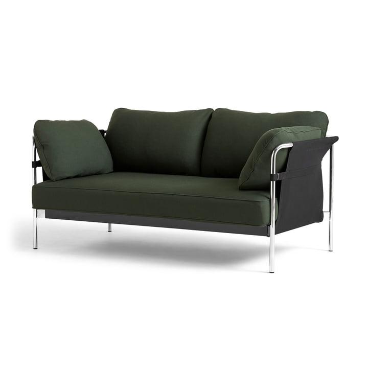 Can 2. 0 Canapé 2 places par Hay en chrome / Toile noire / Steelcut 975 vert foncé