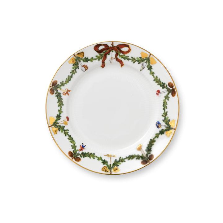 Assiette à déjeuner de Noël cannelée étoile Ø 19 cm du Royal Copenhagen