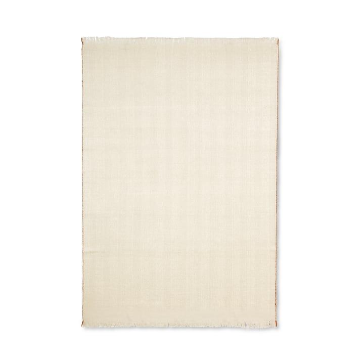 Couverture à chevrons 120 x 180 cm du ferment Vivre en blanc