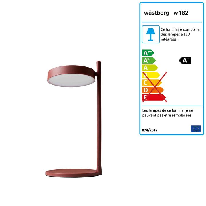 w182 Pastille Lampe de table à LED Pastille b2 de Wästberg en rouge oxyde