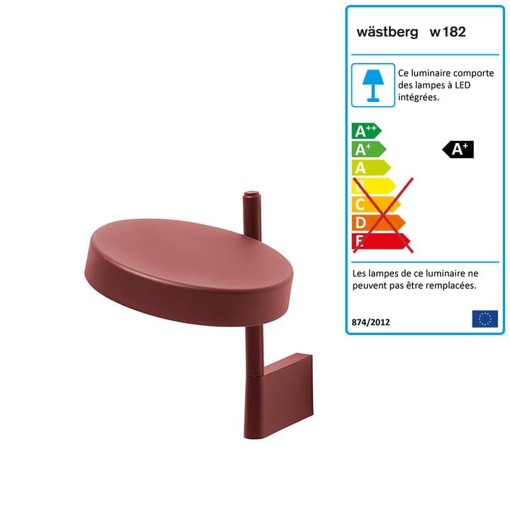 w182 Pastille Applique LED Pastille br1 de Wästberg en rouge oxyde