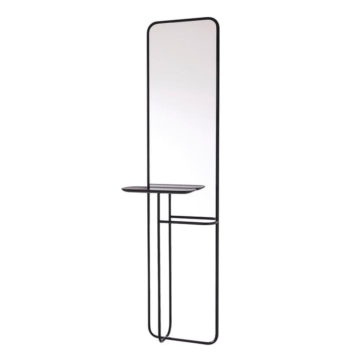 Miroir de concierge avec étagère de Caussa en noir