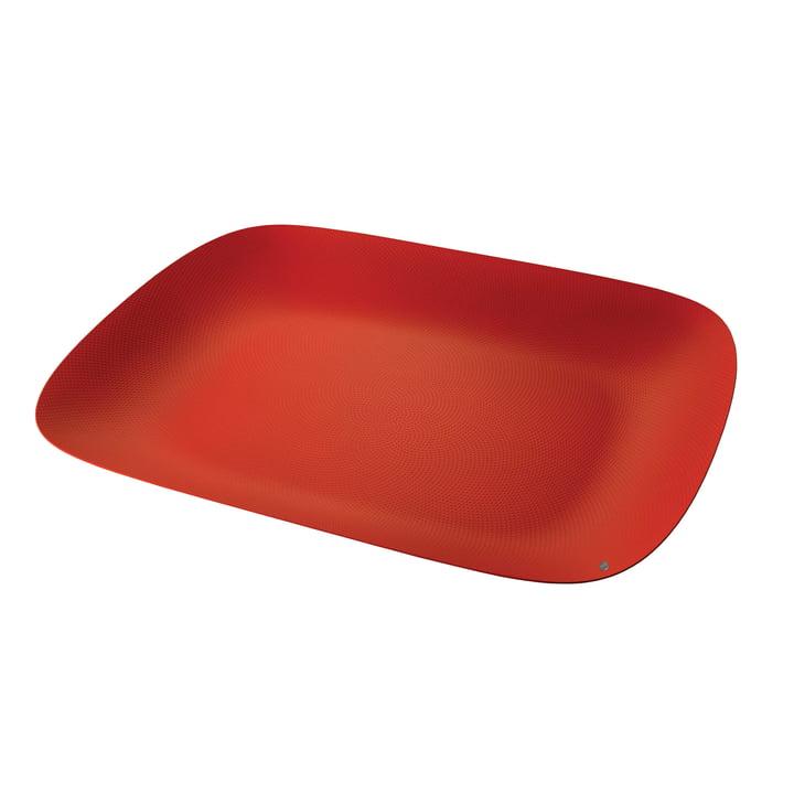 Plateau Moiré 45 x 34 cm par Alessi en rouge avec décor en relief