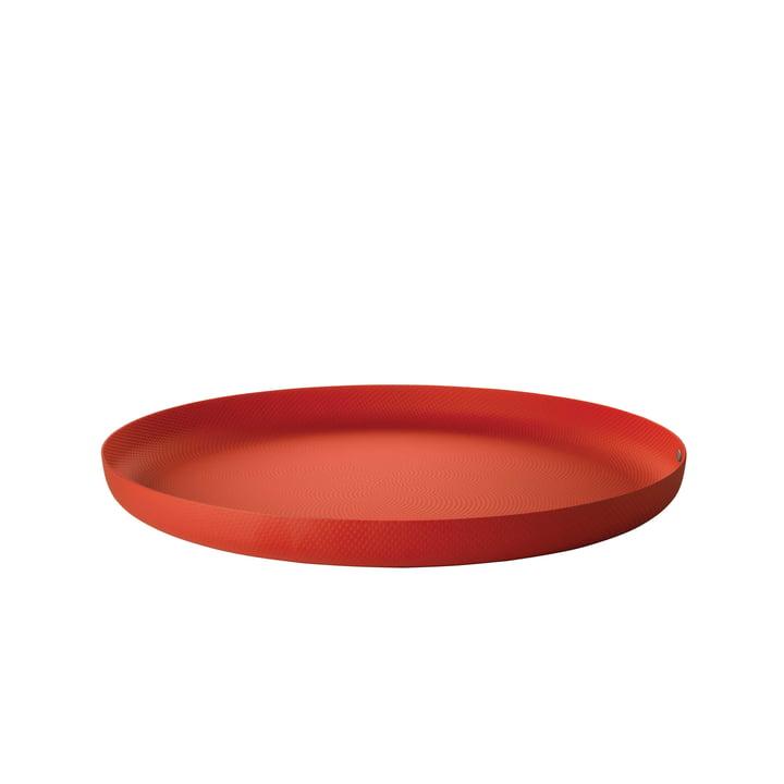 Plateau Ø 35 x H 3 cm d'Alessi en rouge avec décor en relief