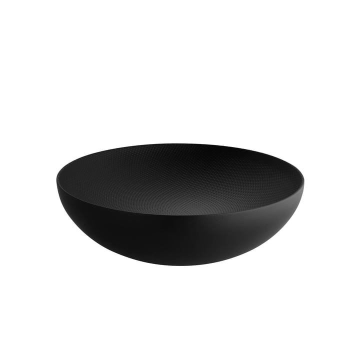 Bol à double paroi Ø 25 x H 7,3 cm d'Alessi en noir avec décor en relief