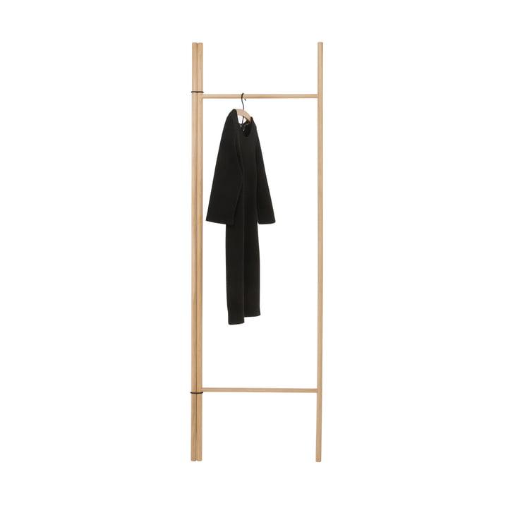 Echelle de rangement avec 2 barres rondes, chêne naturel de conception de la pièce