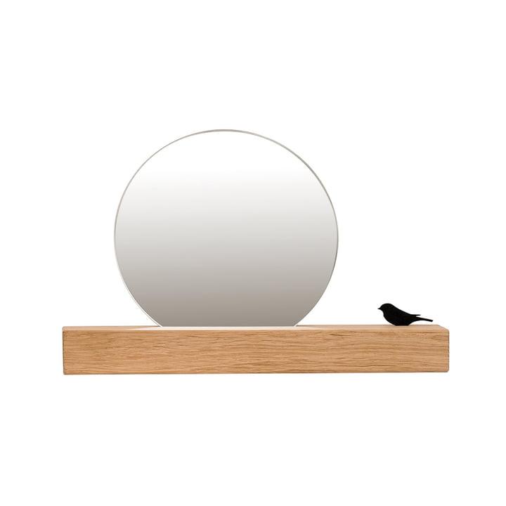 Miroir avec oiseau Ø 15 cm, chêne naturel de conception de chambre