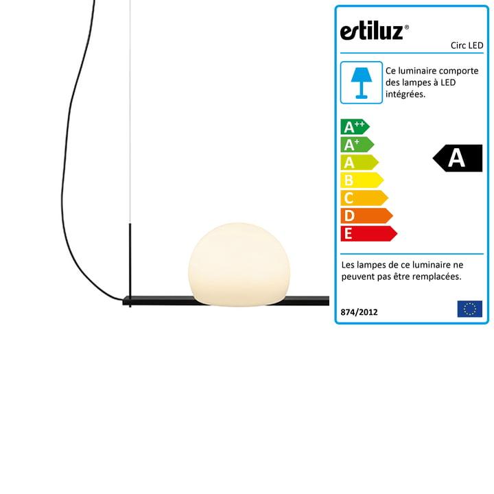 Circ Suspension LED Estiluz 40 cm en noir