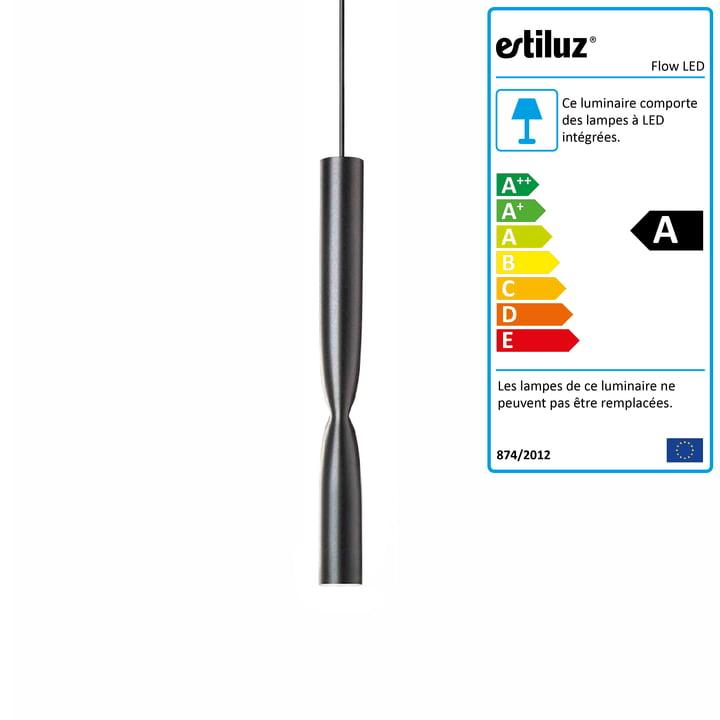 Luminaire suspendu à LED Flow d'Estiluz en noir
