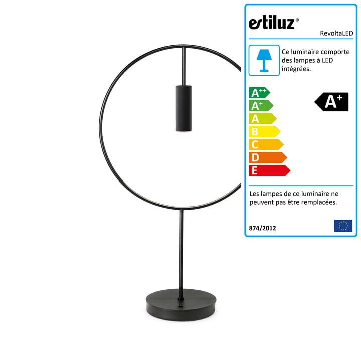 Revolta lampe de table LED 2700K par Estiluz en noir