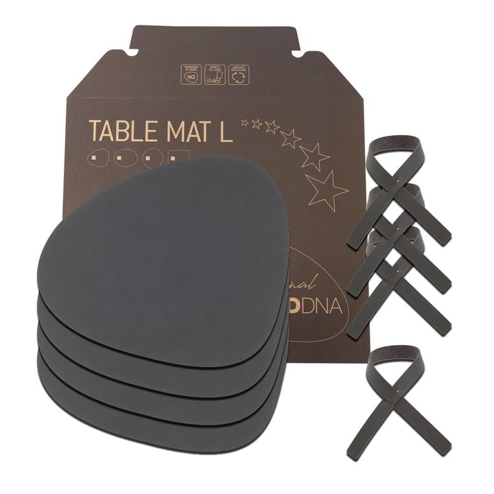 Coffret cadeau Curve L by LindDNA en Nupo anthracite (4 sets de table + 4 ronds de serviette)