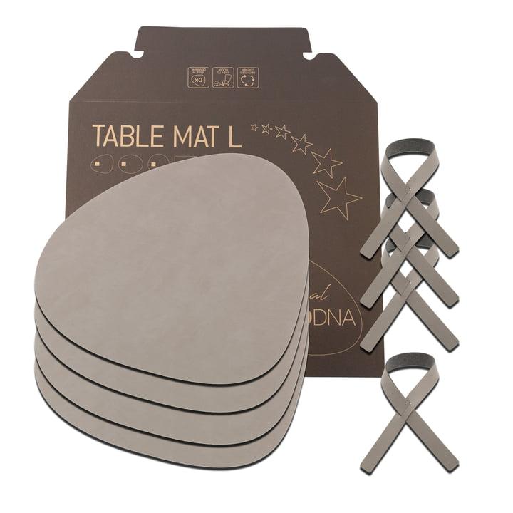 Coffret cadeau Curve L by LindDNA en Nupo gris clair (4 sets de table + 4 ronds de serviette)