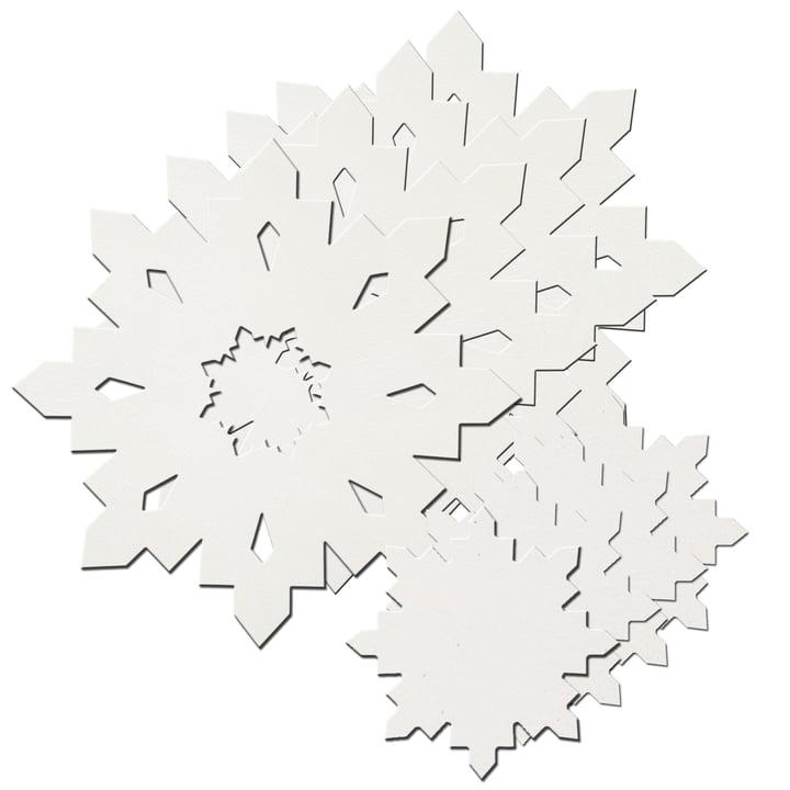 Coffret cadeau flocon de neige LindDNA en blanc cristal 1,6 mm (4 sets de table + 4 dessous de verre)