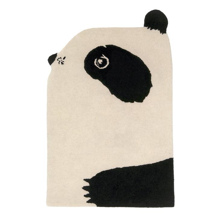 Tierteppich Panda 100 x 70 cm de EO Denmark en noir / beige