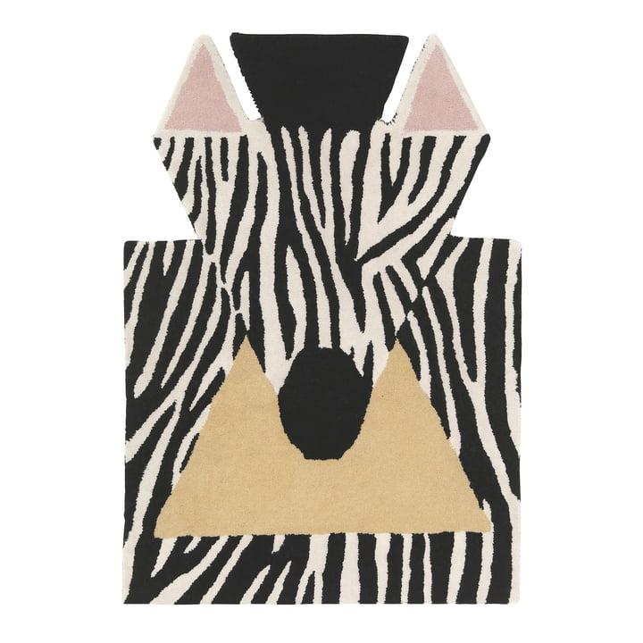 Tapis Zebra 100 x 70 cm de EO Denmark en noir / blanc / beige