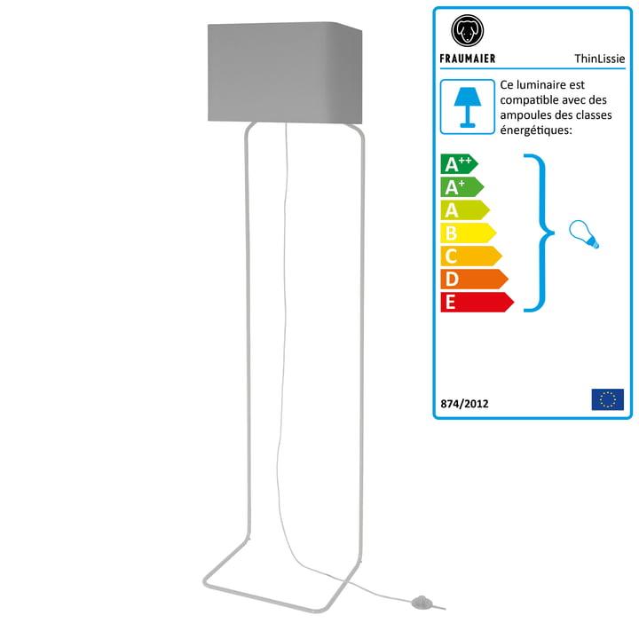 Lampadaire ThinLissie avec gradateur LED de frauMaier en gris clair (RAL 7047)