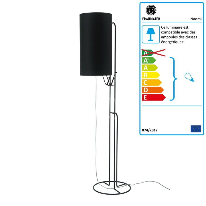 Lampadaire Naomi gradateur LED par frauMaier en noir (RAL 9005)