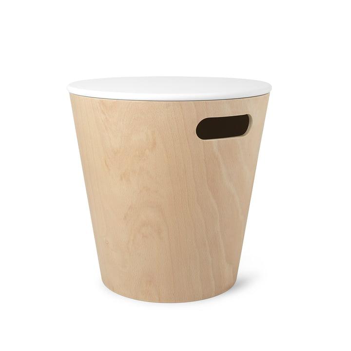 Tabouret en bois / table d'appoint avec espace de rangement Umbra dans la nature / blanc