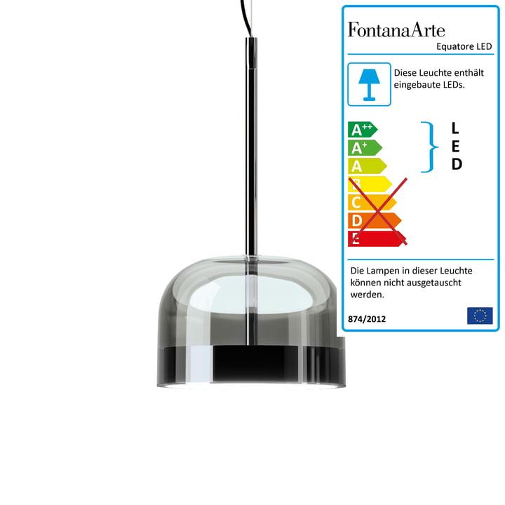 Suspension Equatore LED Ø 23,8 cm de FontanaArte en chrome / noir