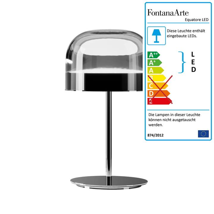 Lampe de table Equatore LED Ø 23,8 cm par FontanaArte en chrome / noir