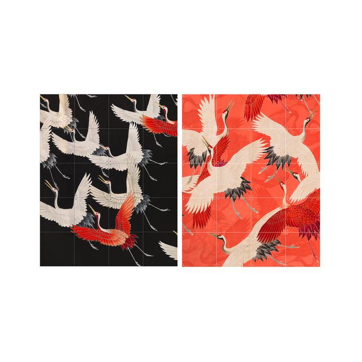 Kimono avec grues, 80 x 100 cm du XXIème siècle